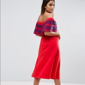 a879eddfc5 ASOS Dresses - Off Shoulder Midi Sundress with Broderie Frill